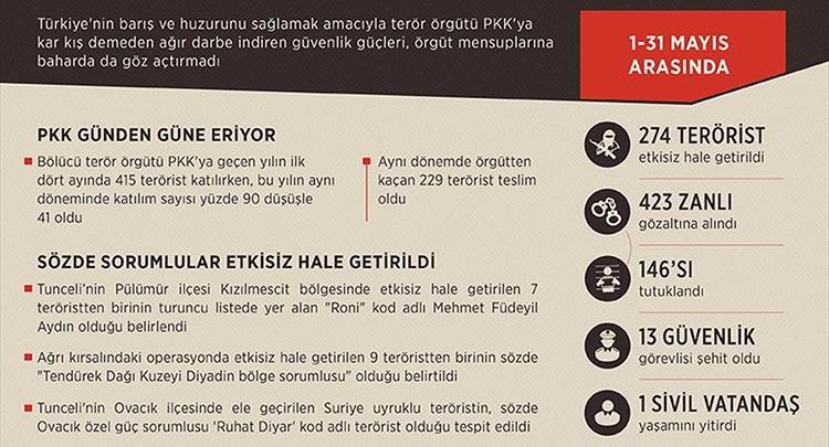 Terör örgütü PKK'ya 5 ayda ağır darbe vuruldu