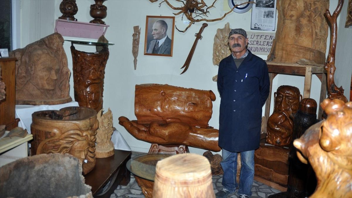 Odun parçaları Mustafa ustanın elinde sanata dönüşüyor