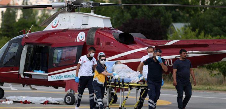 Kayseri'de ambulans helikopter kalp hastası kadın için havalandı