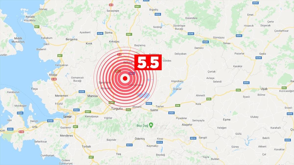 Manisa'da 5.5 büyüklüğünde deprem