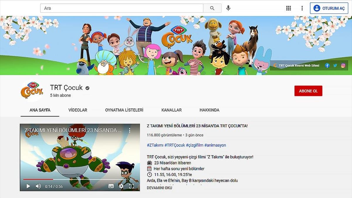 TRT Çocuk YouTube'da 5 milyon aboneye ulaştı