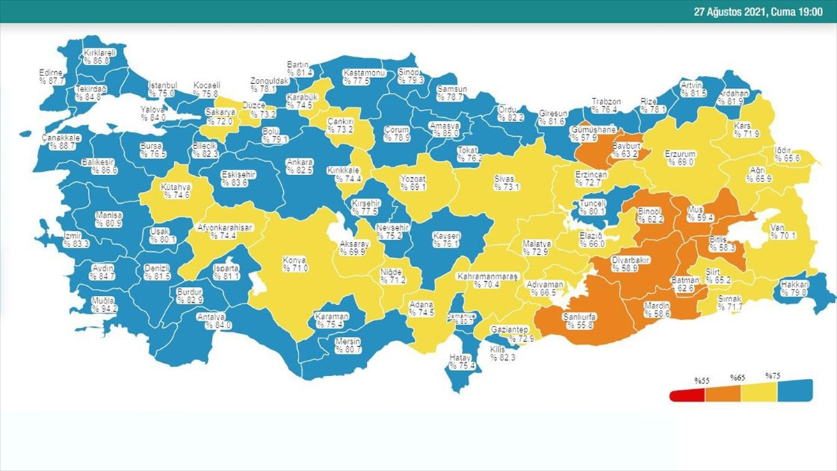 İstanbul Kovid-19 aşı haritasında mavi renge döndü